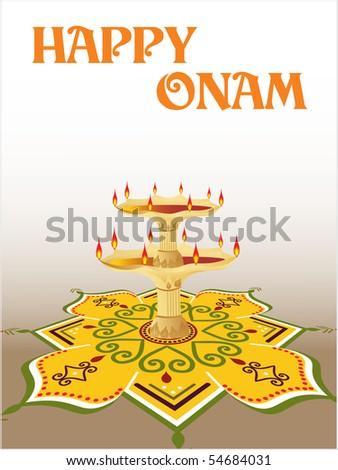 creative designl rangoli background with oil lamp