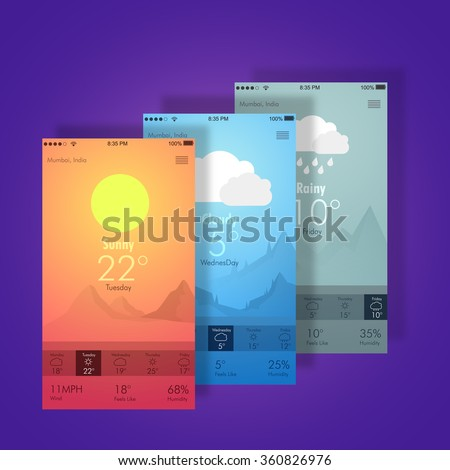 Creative different Weather Widget User Interface layout for Mobile Apps, Web Designs and Responsive Website.