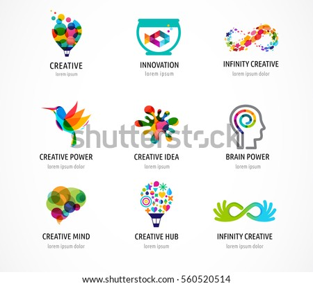 Creative, digital abstract colorful icons, elements and symbols, logo collection, template stock photo