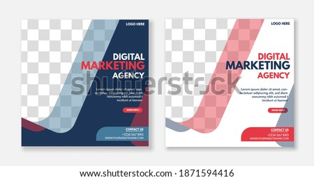 Creative digital business agency social media post template design. Banner promotion. Corporate advertising. Foto stock ©