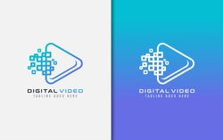 Creative Digital Video Logo Design. Abstract Video Symbol Combined with Digital Square Concept. Vector Logo Illustration.