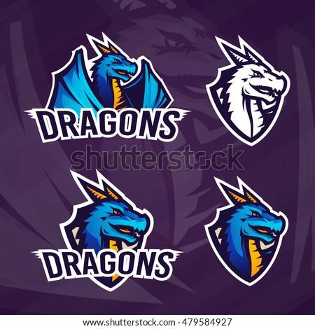Creative dragon logo template. Sport mascot design. College league insignia, Asian beast sign, School team vector.
