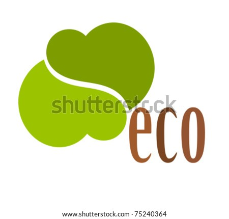 Creative eco symbol made of two green hearts isolated