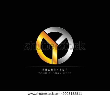 Creative elegant trendy modern monogram logo design silver and gold color OY initial based Alphabet icon logo. Initial letter OY logo template. Luxury O Y logo template. Stok fotoğraf ©