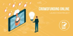 Creative entrepreneur receiving contributions for his project online though a crowdfunding platform on a smartphone
