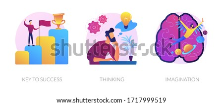 Creative entrepreneurship icons set. Business growth, creative planning, innovative development. Key to success, thinking, imagination metaphors. Vector isolated concept metaphor illustrations