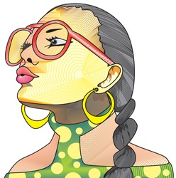 Creative face, woman with eyeglasses, ponytail, earrings, vector illustration