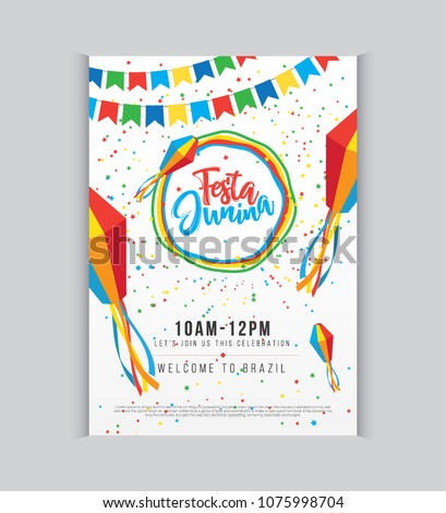Creative Festa Junina Festival Poster Design Template A4 Size Vector Illustration