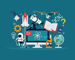 Creative flat design illustration on modern science, engineering, robotics, astrophysics and other disciplines. Ideal for education themed banners, flyers or posters
