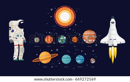 Creative flat vector Solar system celestial bodies, planets with names. Space exploration items. Sun, Mercury, Venus, Earth, Mars, Jupiter, Saturn, Uranus, Neptune, Pluto, astronaut and space shuttle