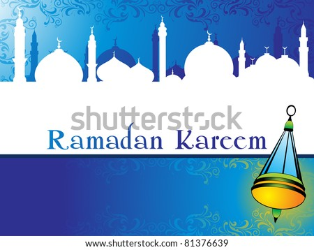 creative floral design background with mosque, lantern