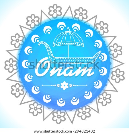 Creative floral design decorated blue frame with illustration of snakeboat under umbrella on shiny background for South Indian festival Happy Onam celebration