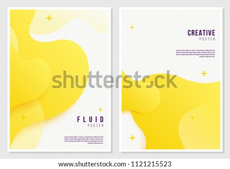 Creative fluid style poster set. dynamic 3D shapes on light background. ideal for party, banner, cover, print, promotion, greeting, ad, web, page, header, landing, social media.