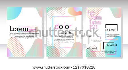 Creative fluid style poster set. dynamic  shapes on light background. ideal for party, banner, cover, print, promotion, greeting, ad, web, page, header, landing, social media. vector illustration #1217910220