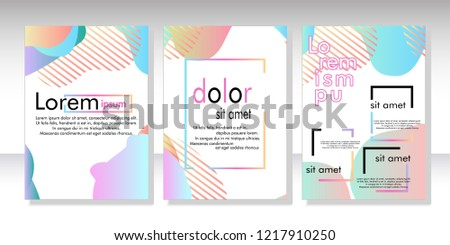 Creative fluid style poster set. dynamic  shapes on light background. ideal for party, banner, cover, print, promotion, greeting, ad, web, page, header, landing, social media. vector illustration #1217910250