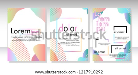 Creative fluid style poster set. dynamic  shapes on light background. ideal for party, banner, cover, print, promotion, greeting, ad, web, page, header, landing, social media. vector illustration #1217910292