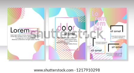 Creative fluid style poster set. dynamic  shapes on light background. ideal for party, banner, cover, print, promotion, greeting, ad, web, page, header, landing, social media. vector illustration #1217910298