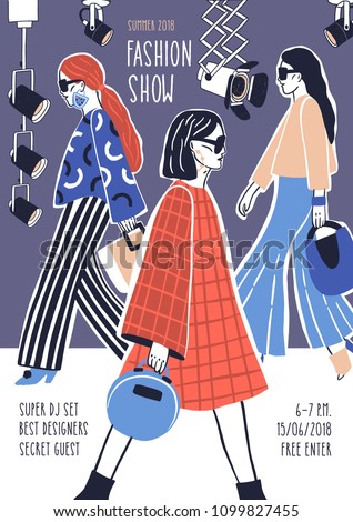 Creative flyer or poster template for fashion show with models wearing stylish haute couture clothes walking along runway or doing catwalk. Hand drawn vector illustration for event promotion