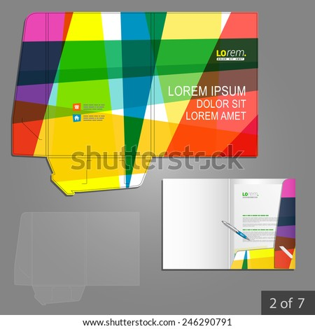 Creative folder template design for corporate identity with color art elements. Stationery set