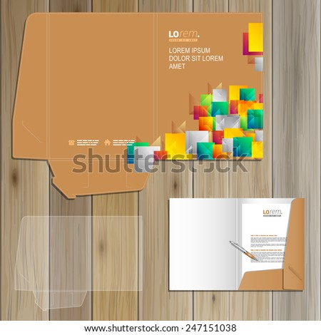 Creative folder template design for corporate identity with color shapes and elements. Stationery set