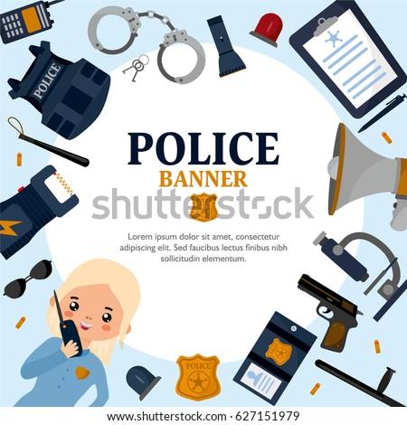 creative frame on police theme