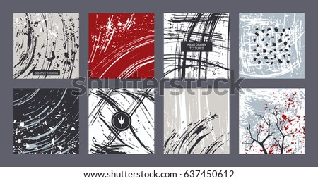 Creative freehand colorful templates: poster, art flyer, modern invitation, birthday, wedding card, web banner. Artistic collection: hand drawn abstract textures, paint dabs, smears. Grey shades.