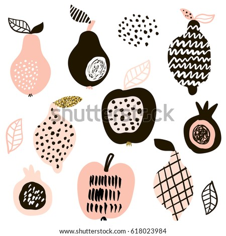 Creative fruits set. Lemon, apple, pear, passion fruit. Vector fruits with hand drawn shapes and textures isolated on white