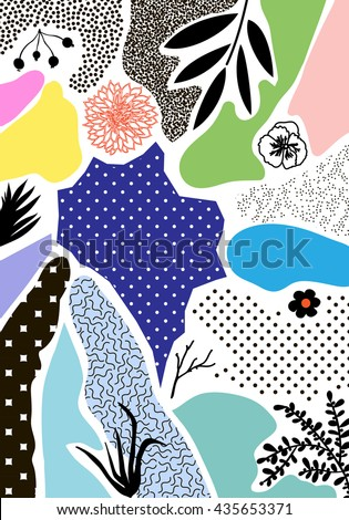 Creative geometric background with floral elements and different textures. Collage. Design for poster, card, invitation, placard, brochure, flyer. Vector