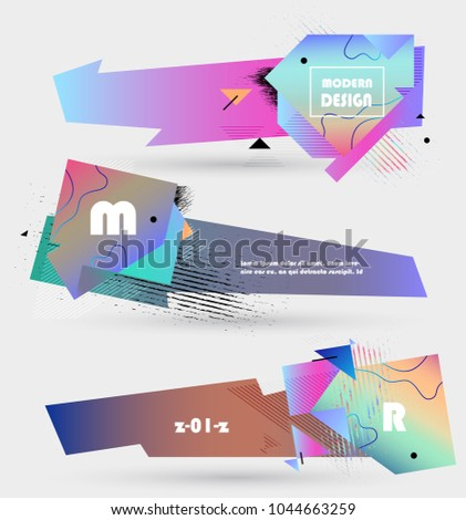 Creative geometric promotion banners, scroll, price tag, sticker, badge, poster. Vector design #1044663259