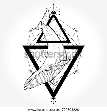 creative geometric whale tattoo