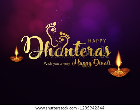 Creative Golden Text for Happy Dhanteras on Traditional Background. Maa Lakshmi Footprints.
