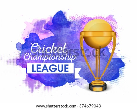 Creative golden winning Trophy on abstract background for Cricket Championship League. #374679043