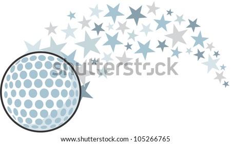 Creative Golf Ball Illustration hitting like a golf professional star