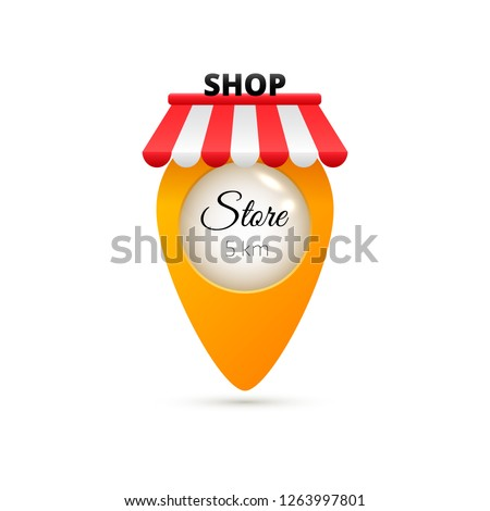 Creative GPS map pointer. Geolocation sign isolated on white background. Navigation pin icon for shop, market, shopping center, grocery store, supermarket, department store. Vector illustrarion