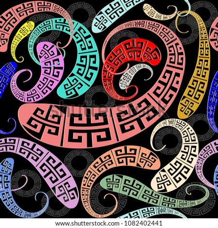 Creative greek key meander seamless pattern. Vector abstract patterned geometric background. Paisley style modern ornaments. Colorful greek key meander figured wavy curve shapes, dark black circles.