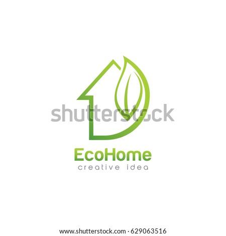 Stock Photo Creative Green House Concept Logo Design Template