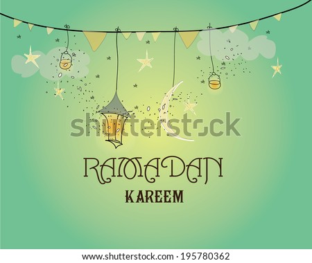 Creative greeting card design for holy month of muslim community festival Ramadan Kareem with moon and hanging lantern and stars on green background. - stock vector
