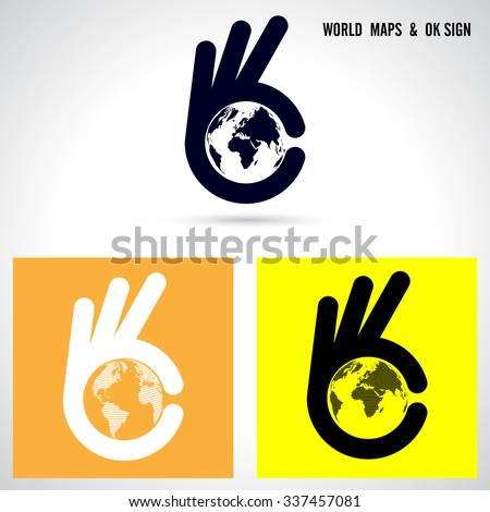 creative hand and world map