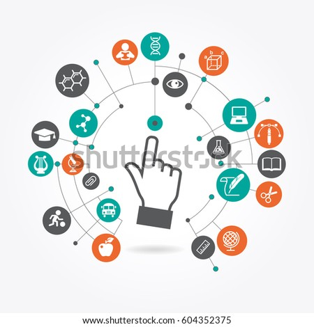 creative Hand cursor iconl with school icons set illustration. concept learning. the study of science. this work - eps10 vector file
