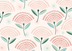 Creative hand drawn flying dandelion seeds with a soft sweet pink colour palette. Elegant dandelion floral pattern. Great for fabric,textile,wallpaper, packaging design, social media background.