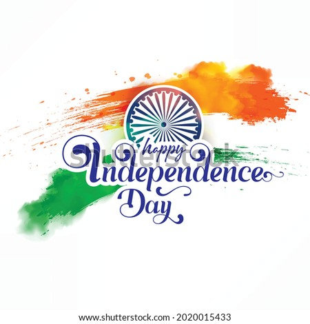 Creative Hand Lettering Text 'Happy Independence Day' or Calligraphy on Beautiful Tri Color National Flag Abstract Background. Stockfoto ©