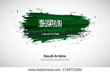Creative happy national day of Saudi Arabia country with grungy watercolor country flag background