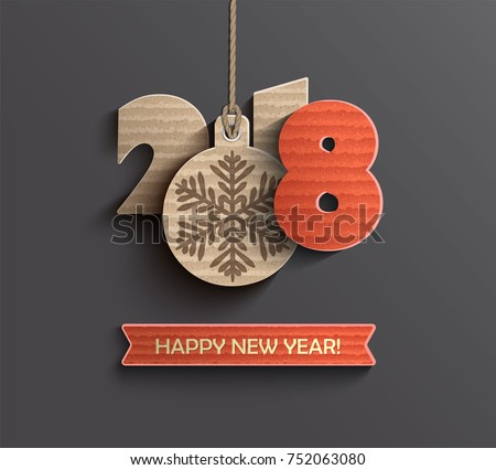 Creative happy new year 2018 design card in paper style. Vector illustration.
