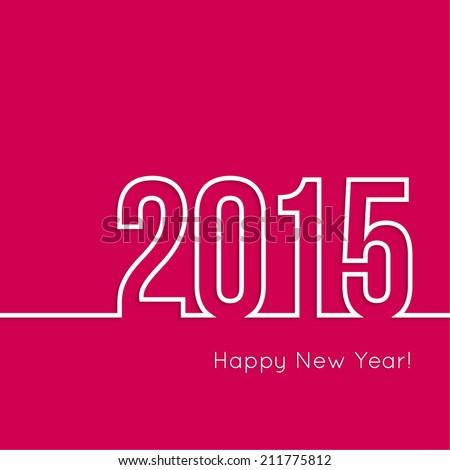 creative happy new year 2015 design.  Flat design.