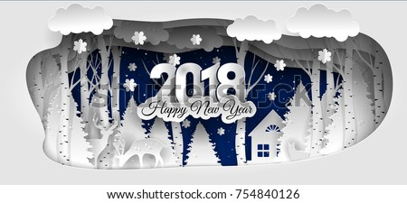 Creative happy new year 2018 design. Happy new year 2018 paper art and craft style.