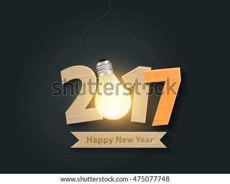 Creative happy new year 2017 with light bulb idea design. Vector illustration.