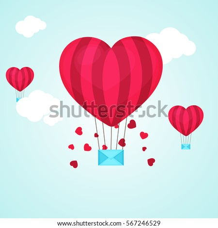 Creative Heart shaped Hot Air Balloon with Envelope flying in the sky for Happy Valentine's Day celebration. #567246529
