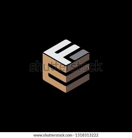 creative hexagon EF Initial clever logo vector Photo stock ©