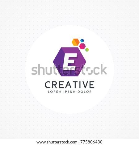 creative hexagonal letter e