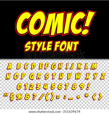 Creative high detail comic font. Alphabet in the style of comics, pop art. Letters and figures for decoration of kids' illustrations, websites, posters, comics and banners. #351639674